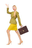 Young woman in vivid jacket and with briefcase Stock Image