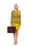Young woman in vivid jacket and with briefcase Royalty Free Stock Images