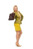 Young woman in vivid jacket and with briefcase Royalty Free Stock Photo