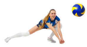 Young woman volleyball player isolated Royalty Free Stock Image