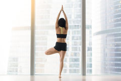 Young woman in Vrksasana pose against floor window, rear view. Young attractive woman practicing yoga, standing in Vrksasana exercise, Tree pose, working out Royalty Free Stock Image
