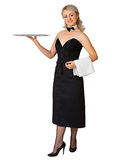 Young woman waiter with a tray on white. A young woman waiter with a tray isolated on white background Stock Image