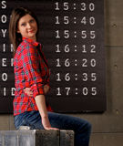 Young Woman Waiting Flight Stock Photography