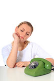 Young woman waiting for phone call Royalty Free Stock Image