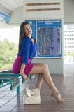 Young woman waiting train Stock Photography
