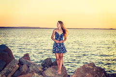 Young Woman Waiting for You on Sunset Stock Photography