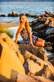 Young Woman Waiting for You on Sunset Royalty Free Stock Photo