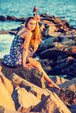 Young Woman Waiting for You on Sunset Royalty Free Stock Photography