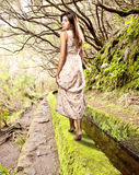 Young woman walk barefoot on forest. Young woman looking back walking on a forest royalty free stock images