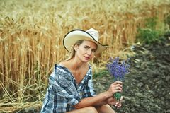 A young woman on a walk in the field with wheat Royalty Free Stock Photography