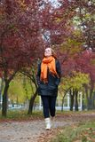 Young woman walk on footpath in autumn park, yellow leaves and trees royalty free stock photo