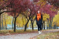 Young woman walk on footpath in autumn park, yellow leaves and trees stock images