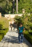 Young woman walking on the Alhambra Stock Images