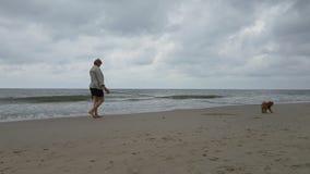 Young woman walking along the beach stock video