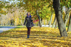 Young woman walking in autumn park Royalty Free Stock Photos