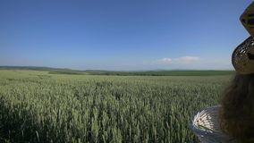 Young woman walking with basket with flowers and a bottle of water a wheat field with blue sky on the background. slow stock footage