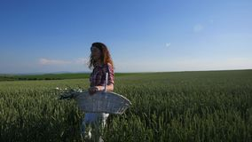 Young woman walking with basket with flowers a wheat field with blue sky on the background stock footage