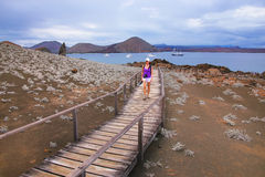 Young woman walking on a boardwalk on Bartolome island, Galapago Stock Photography
