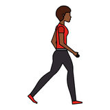 Young woman walking character. Vector illustration design Stock Photos