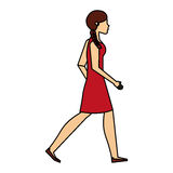 Young woman walking character. Vector illustration design Stock Image