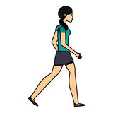 Young woman walking character. Vector illustration design Royalty Free Stock Photography