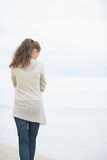 Young woman walking on cold beach. rear view Royalty Free Stock Photography