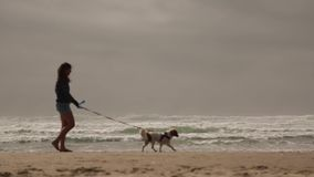 Young woman walking dog beach
