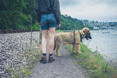 Young woman walking dog by railroad tracks Royalty Free Stock Photo