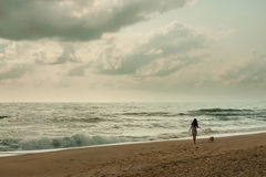 Young woman walking with her dog on the beach with beautiful sky (retro style) Royalty Free Stock Photos