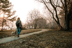 Young woman is walking with her dog in the evening park. Royalty Free Stock Image