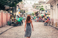 Young woman walking in Manila Royalty Free Stock Photo