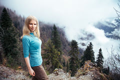 Young Woman walking outdoor Lifestyle Travel Royalty Free Stock Images