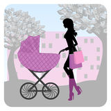 Young woman walking in park with stroller stock illustration