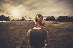Young woman walking in the park at sunset Stock Photography