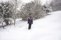 Young woman walking in the snow Stock Photo