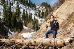 Young woman with walking sticks overcomes an obstacle in mountains. Young woman with walking sticks overcomes an obstacle - a fallen tree on a trail Stock Image