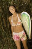 Young Woman Walking With Surfboard Stock Photos