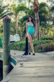 Woman walking in boating boardwalk Stock Image