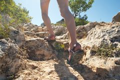 Female legs; hiking in Turkey stock images