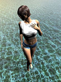 Young woman walking in water. Realistic three dimensional illustration of young woman walking in patterned water Royalty Free Stock Photos