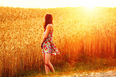Young woman walking in wheat field Stock Photography