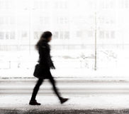 Young woman walking in winter Royalty Free Stock Photography