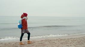 Tourist Woman Walks along Sea Beach, Smiling to Camera, in Fog Autumn Day stock video