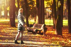Young woman walks at colorful autumn park. Sunny afternoon in autumnal forest park. Girl relaxes in vivid park royalty free stock images