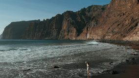 A young woman walks and enjoys a beautiful view of the Atlantic Ocean and the rocks on the black beach. Los Gigantes. Tenerife, Canary islands, Spain 2k stock video footage