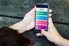 Young woman with wallet app stock photos
