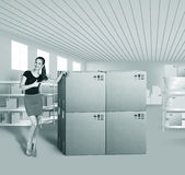 Young woman in warehouse Royalty Free Stock Image