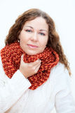 Young woman in warm clothes with sore throat Royalty Free Stock Image