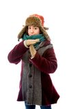 Young woman in warm clothing and making time out signal with han Stock Images