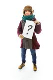 Young woman in warm clothing and showing question mark on white Royalty Free Stock Image